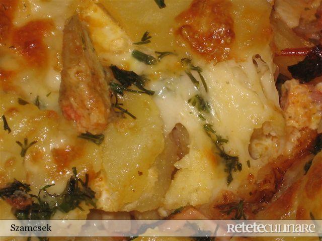 Reteta culinara Cartofi cu sos la cuptor din Carte de bucate, Mancaruri cu carne. Specific Romania. Cum sa faci Cartofi cu sos la cuptor