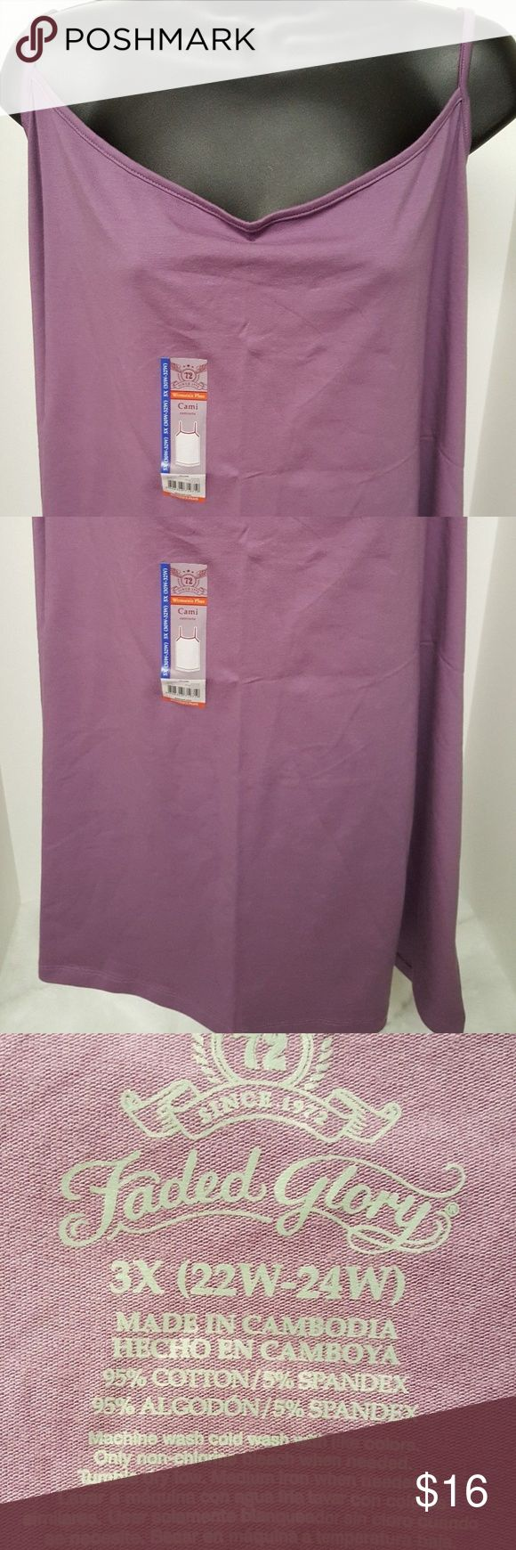 NWT Faded Glory Purple Cami Shirt This item is new with tags.  The measurement from pit to pit is 22 inches. The length from shoulder to bottom is 27.25 inches.  The material is 95% cotton and 5% spandex.  Size 3X (22W/24W). Faded Glory Tops Camisoles
