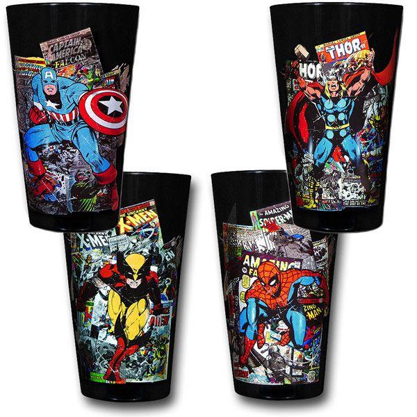 Marvel Heroes Comic Background Pint Glass Set