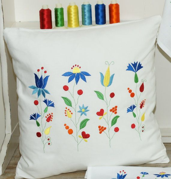 Embroidered cushion. Folk flowers pillow.