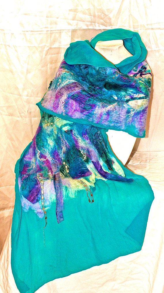 Nuno Felted Silk Shawl. Turquoise and Lavender by MindfulPresents
