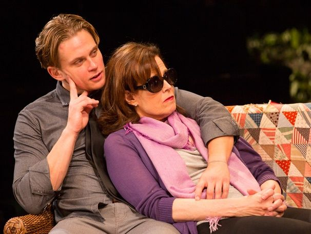 "Billy Magnussen as Spike and Sigourney Weaver as Masha in ""Vanya and Sonia and Masha and Spike."" 2013"