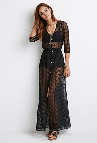 Floral-Embroidered Mesh Dress | Forever 21 - 2000080295