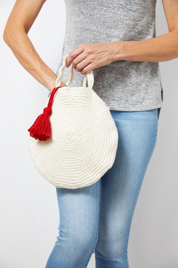 Round Crochet Bag With Tassel Pattern Crochet Bag Pattern Round