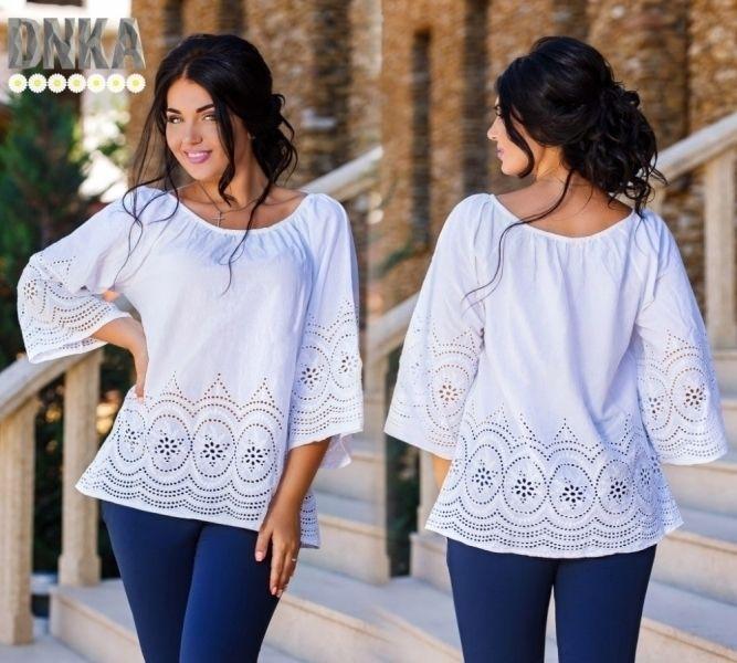 Очаровательная женская хлопковая белая блуза с перфорацией
