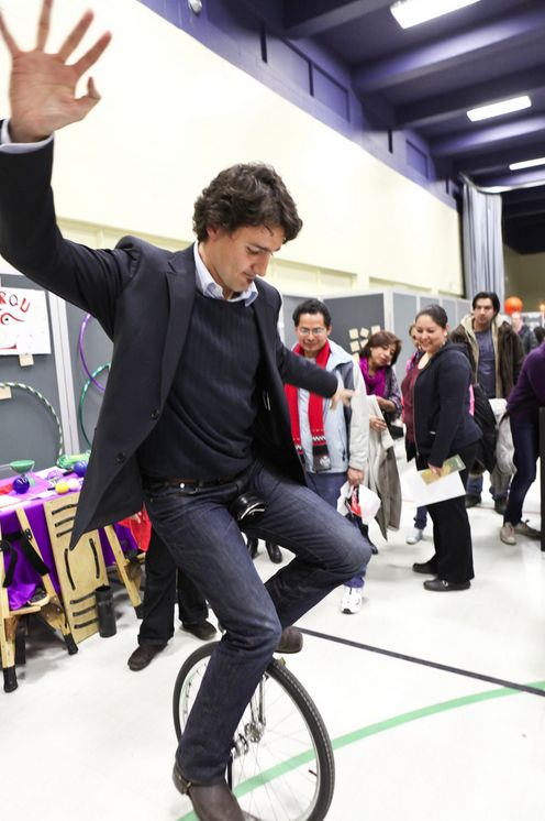 Justin Trudeau, the new prime minister of Canada, rides a unicycle