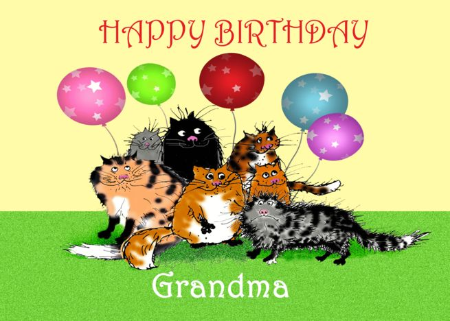 Happy Birthday Grandma From GrandsonCrazy Cats And Balloons Card