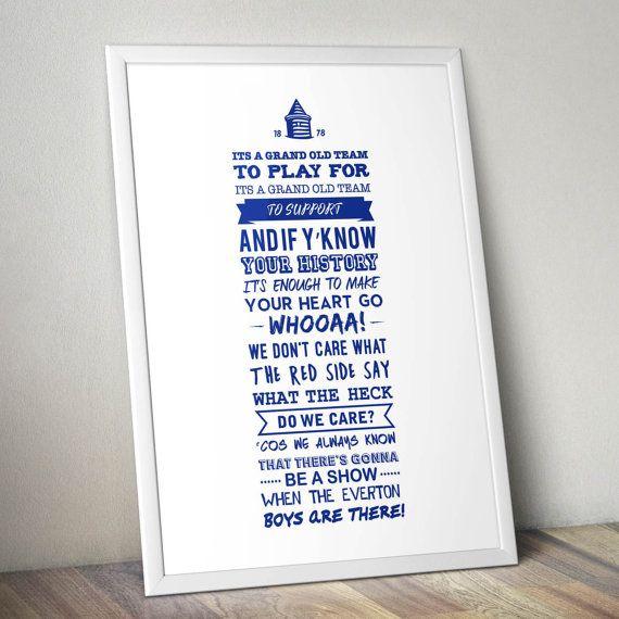 Everton FC - 'Grand Old Team' Lyrics Print (White)