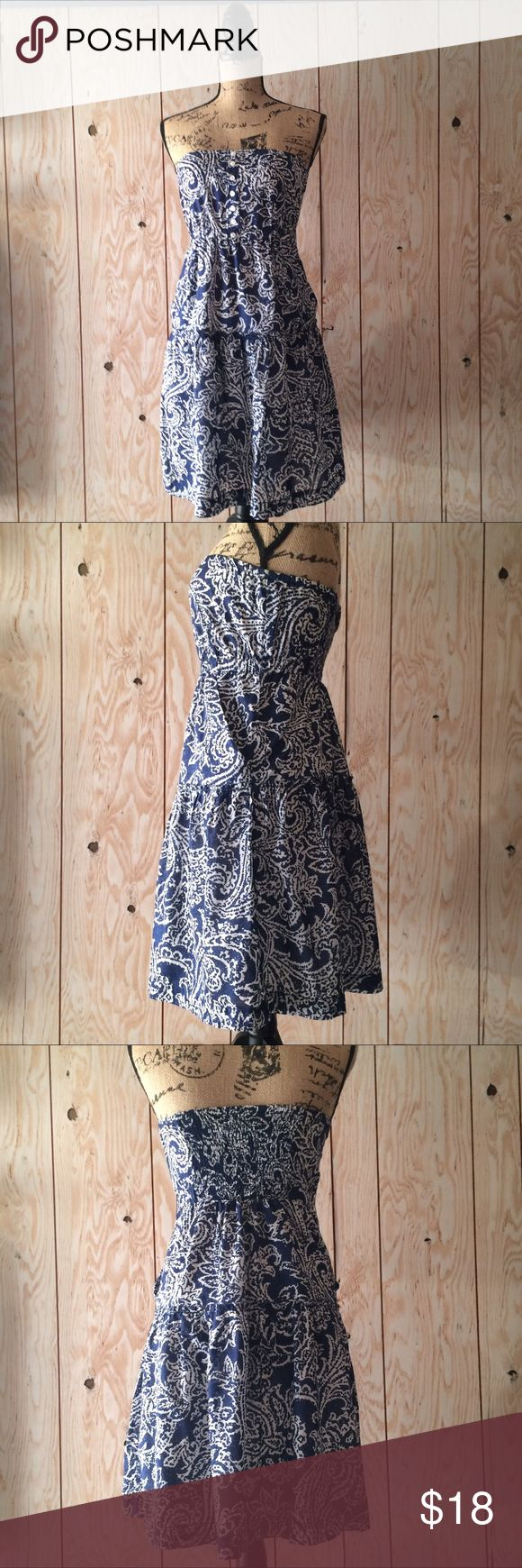 American Eagle Outfitters strapless dress! Beautiful details. Front pockets! Lined. 100% cotton. Size 4. Excellent condition. Bundle discount available. Fast shipping. ⚡️⚡️ American Eagle Outfitters Dresses Strapless