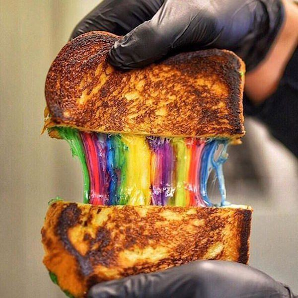 Rainbow Grilled Cheese #grilledcheese #food #yum #foodporn #cheese #sandwich #recipe #lunch #foodie