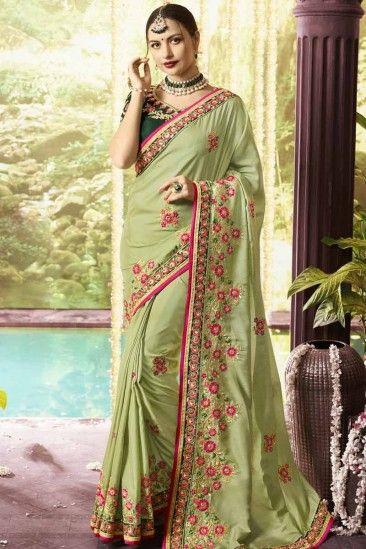 84d61cff24 Dola Silk Saree with Dark Green Blouse - SARV0460 | Party wear ...