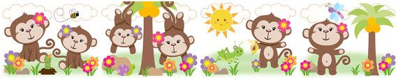JUNGLE GIRL MONKEY wall border decals for baby nursery or kids room decor #decampstudios https://www.etsy.com/listing/161635949/jungle-girl-monkey-wall-border-decals