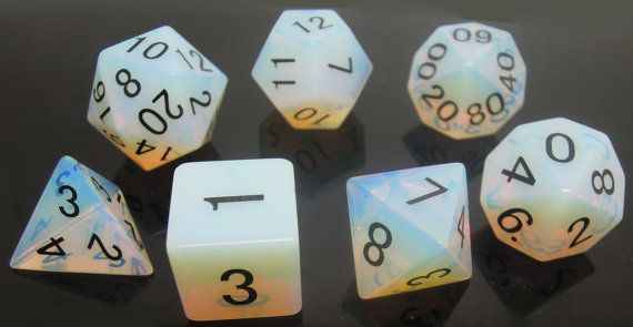 Synthetic Opalite Gemstone Polyhedral Dice Set: by GamerGeek493