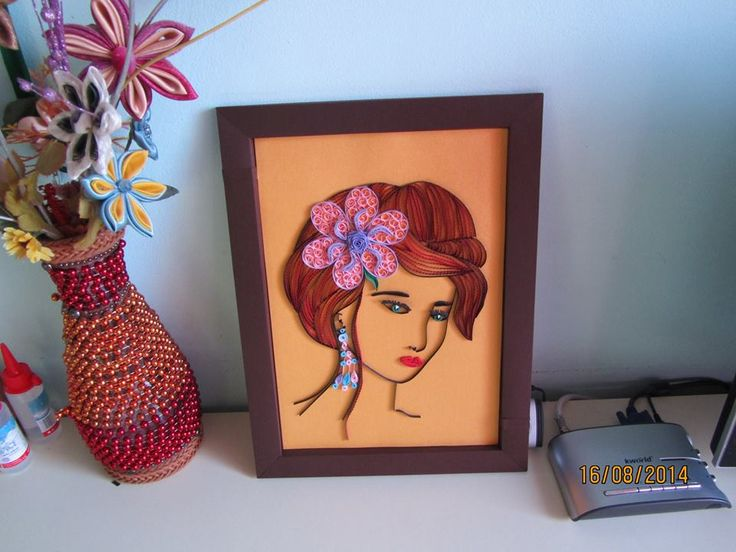 Pretty Lady and Vase quilled - by: Quilling Martisoare