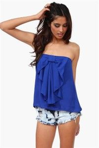 Summer outfit - blue tube tobe with shorts.