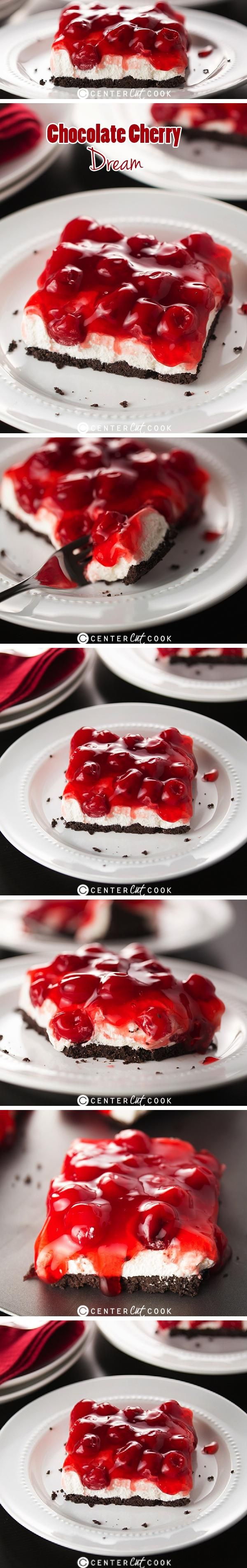 Chocolate Cherry Dream -- the perfect layered no-bake dessert that's easy to make and tastes like a dream! An Oreo cookie crust gets topped with a fluffy cream cheese layer before cherry pie filling is added to complete it all. It's a dessert everyone will love!