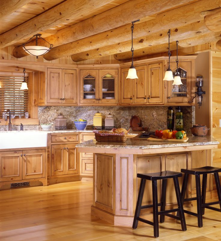 Log Home Kitchen With Country Sink