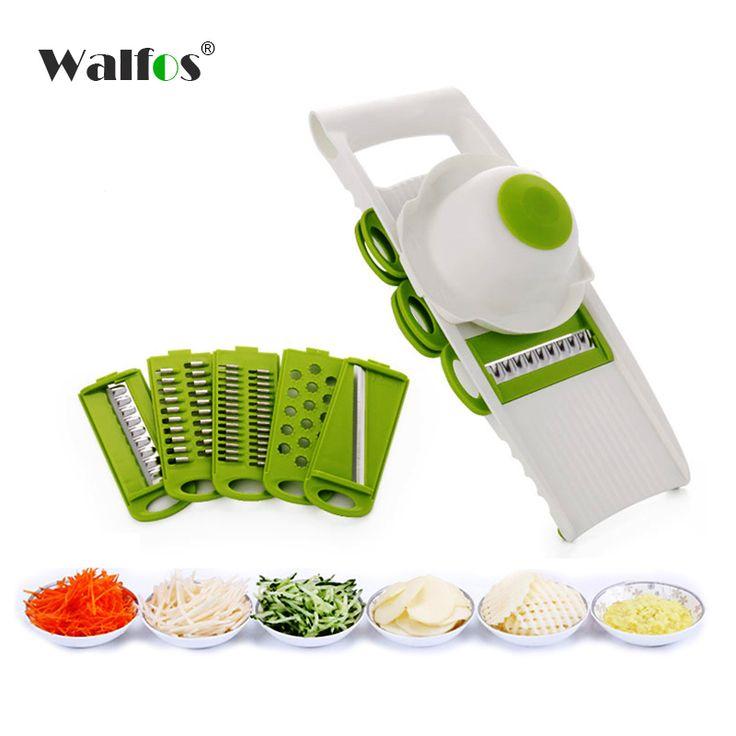 WALFOS Mandolinenschneider Gemüse Cutter mit 5 Edelstahl Klinge Karottenreibe Zwiebel Dicer Hobel Küche Zubehör