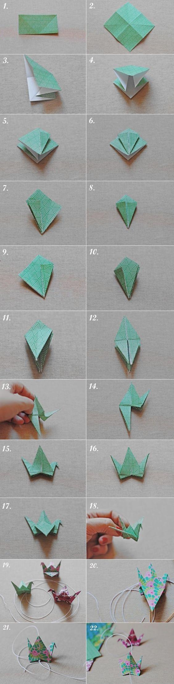 DIY. Cortina de grullas de origami/Origami crane curtain: