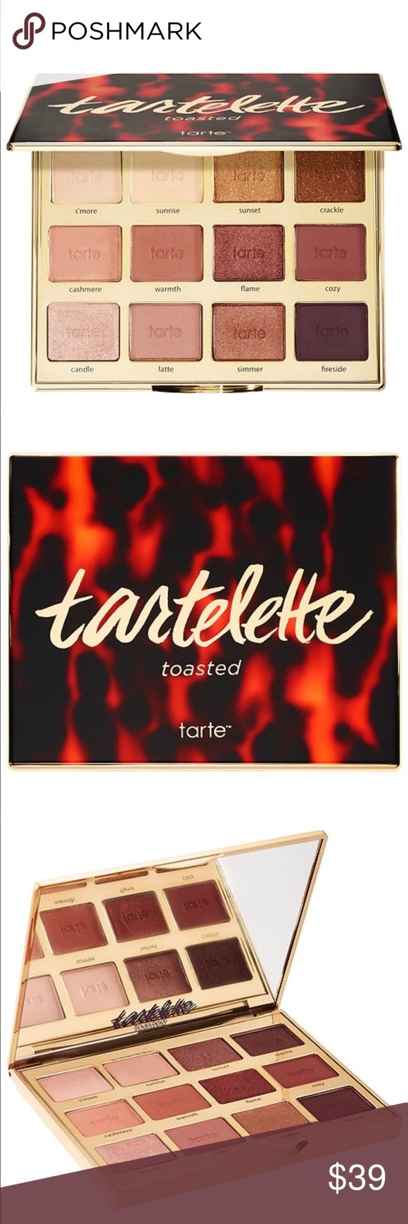 NIB TARTE Tartelette TOASTED Eyeshadow Palette Brand new in box. This set contains: - 12 x 0.053 oz/ 1.5 g Eyeshadows in S'more (pinky beige), Sunrise (golden beige), Sunset (bronze), Crackle (brown with gold flecks), Cashmere (pale peach), Warmth (terracotta), Flame (metallic rust), Cozy (brick), Candle (champagne), Latte (tan), Simmer (copper), Fireside (deep plum) This palette is ophthalmologist- and dermatologist-tested. It's also safe for contact lens wearers. tarte Makeup Eyeshadow