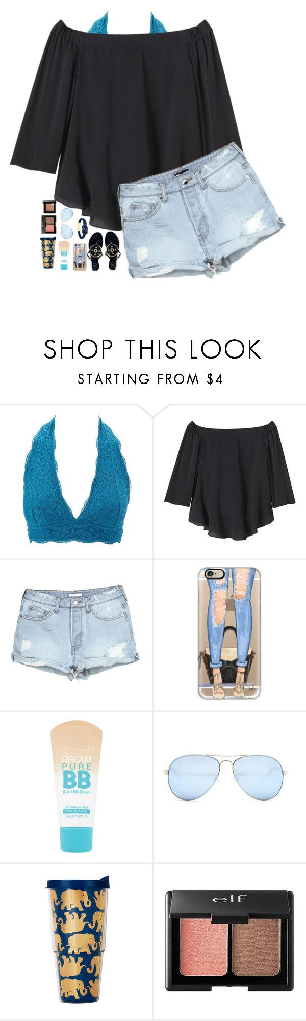 """to the moon&back"" by nc-preppy-living ❤ liked on Polyvore featuring Charlotte Russe, Rebecca Taylor, Jack Rogers, Casetify, Maybelline, GUESS, Lilly Pulitzer and Bobbi Brown Cosmetics"