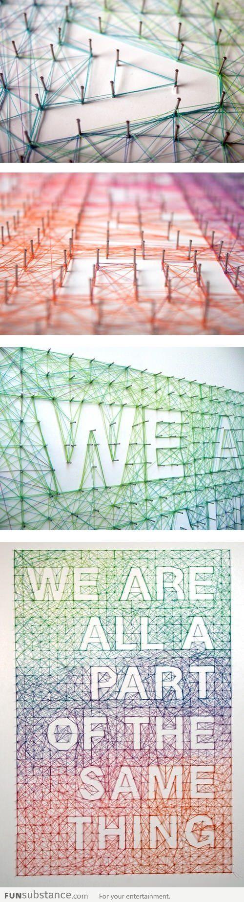 Gaaf! Maak je eigen touwtjes kunst #interieur #kunst #doityourself #art #home #idea