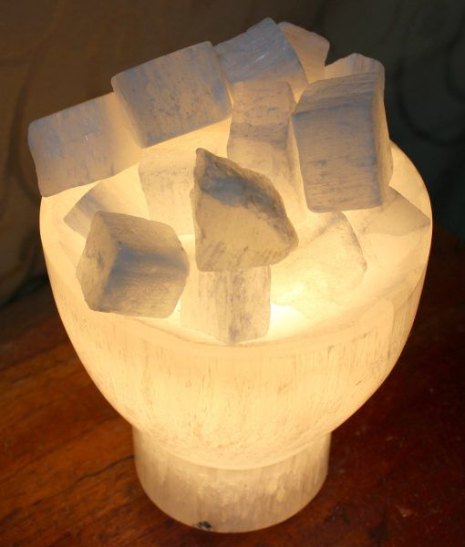 Selenite Firebowl Lamp | Himalayan Salt Factory  selenite bowl fire lamp  , holistic gemstones, selenite lamp