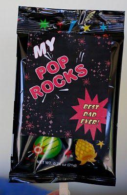 """""""My POP rocks"""" gift basket for Father's Day...popcorn, pop rocks, soda POP, etc"""