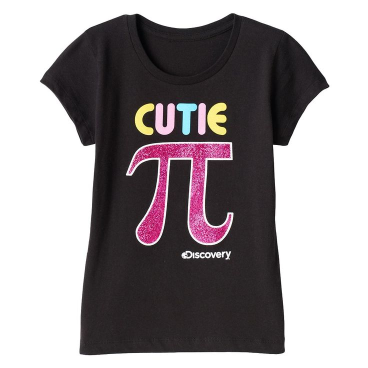 "Girls 7-16 Discovery Channel ""Cutie Pi"" Glitter Graphic Tee, Size: XL, Black"