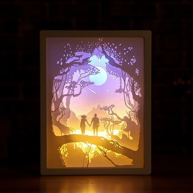 3d Light And Shadow Night Lamp Paper Carving Art With Images Paper Carving Night Lamps Painting Patterns