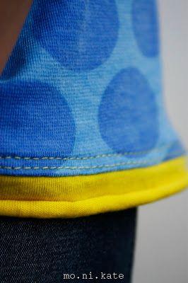 jerseytunika  meeresblau und zitronengelb       raffung am ausschnitt  rollbündchen in zitronengelb          auch am ärmel kleines bündc...