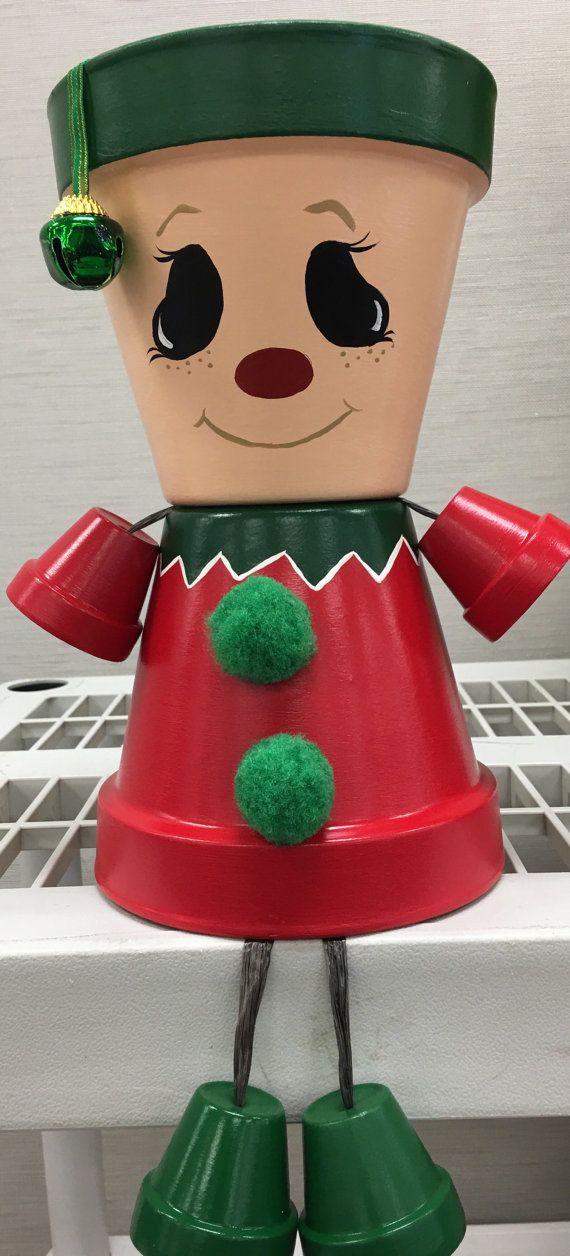 Prêt à ShipChristmas Elf Pot personne Pot par GARDENFRIENDSNJ