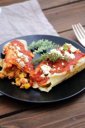 Vegetarische Enchiladas mit selbst gemachten Fladen. tulpentag