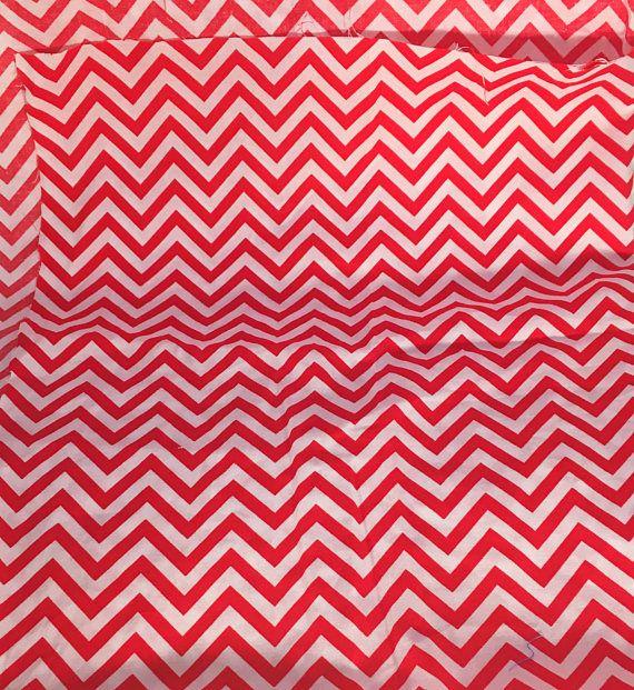 Cotton Fabric Fabric Scrap Chevron Fabric Red Fabric