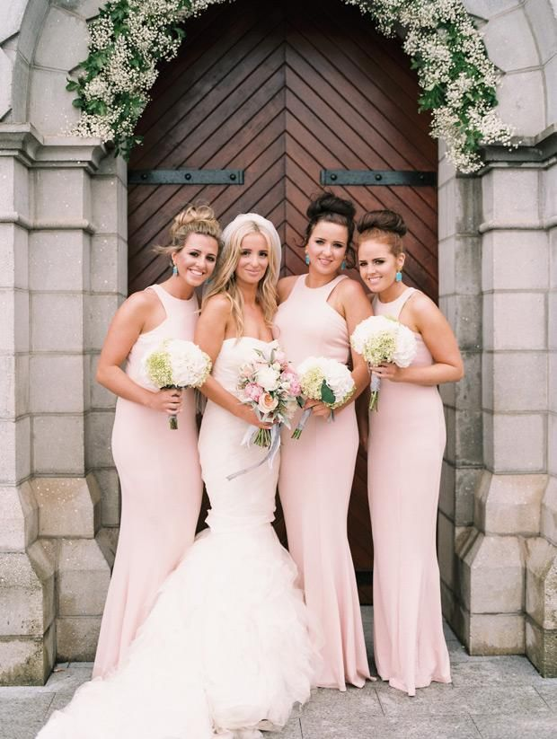 2015 New Long Blush Pink Bridesmaid Dresses Jewel Neck Backless Sheath Long  Prom Dress Wedding Party