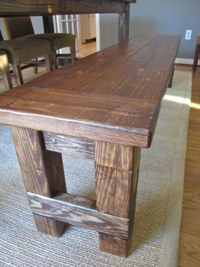 DIY Plans to build the matching farmhouse bench (goes with farmhouse table). www.tommyandellie.com