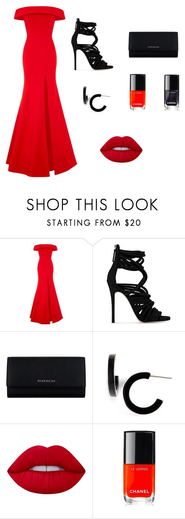 """""""Untitled #31"""" by suneye-saadati ❤ liked on Polyvore featuring Rachel Gilbert, Giuseppe Zanotti, Givenchy, L. Erickson, Lime Crime and Chanel"""