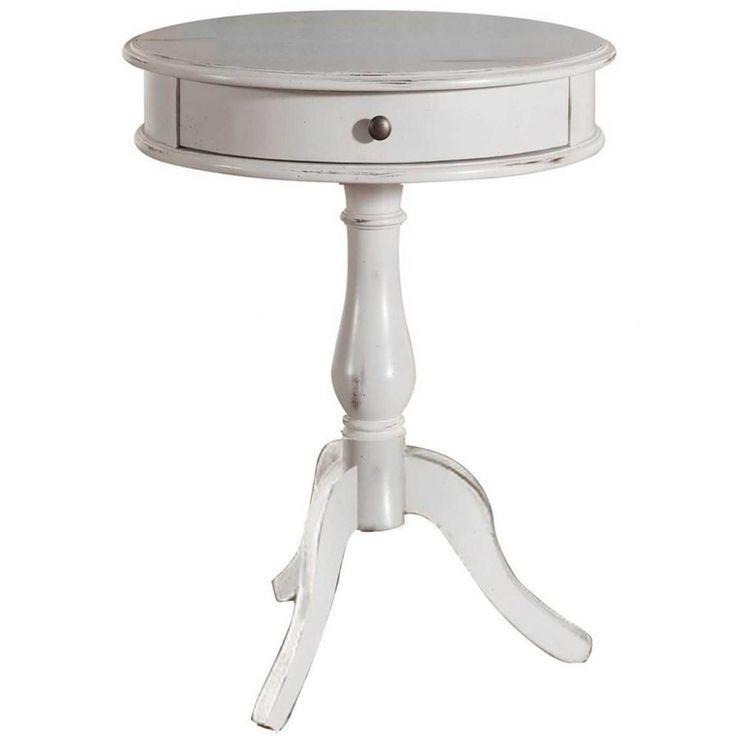 White Round End Table