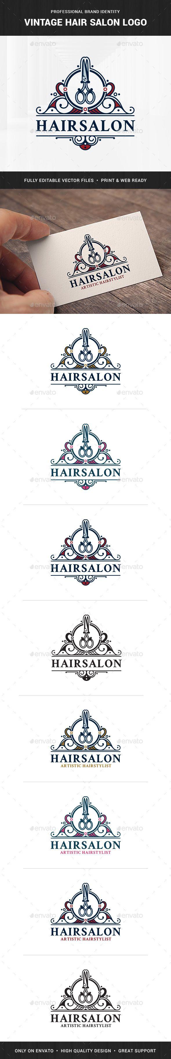 Vintage Hair Salon Logo Template - Crests Logo Templates    Download & View Here :   https://graphicriver.net/item/vintage-hair-salon-logo-template/21382002?s_rank=25&ref=RipsSlinger  #logo #hairsalon #premiumdesignart