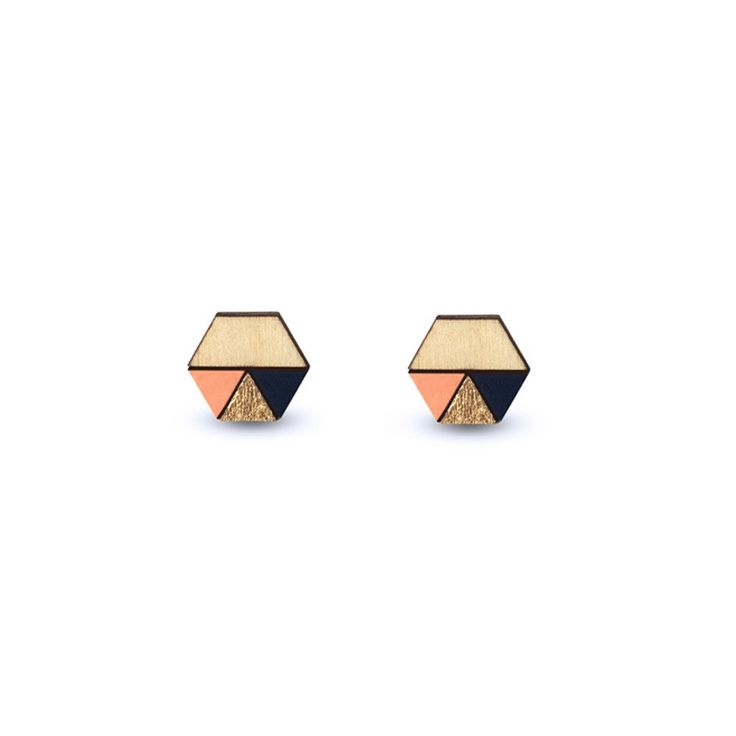 Amindy - Hand painted hexagon Sliced Earrings - Peach, Gold Leaf & Navy Blue - $22 - Shop online at www.amindy.com.au