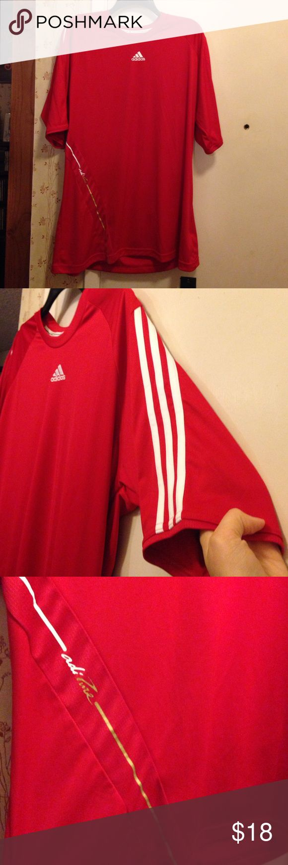 NWT Adidas Tee NWT Adidas short sleeve tee. Red with white stripes on one sleeve and white outline on the other. Size XL. No trades. Make offers! Adidas Shirts Tees - Short Sleeve