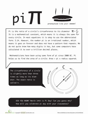 Fourth Grade Geometry Worksheets: What is Pi?