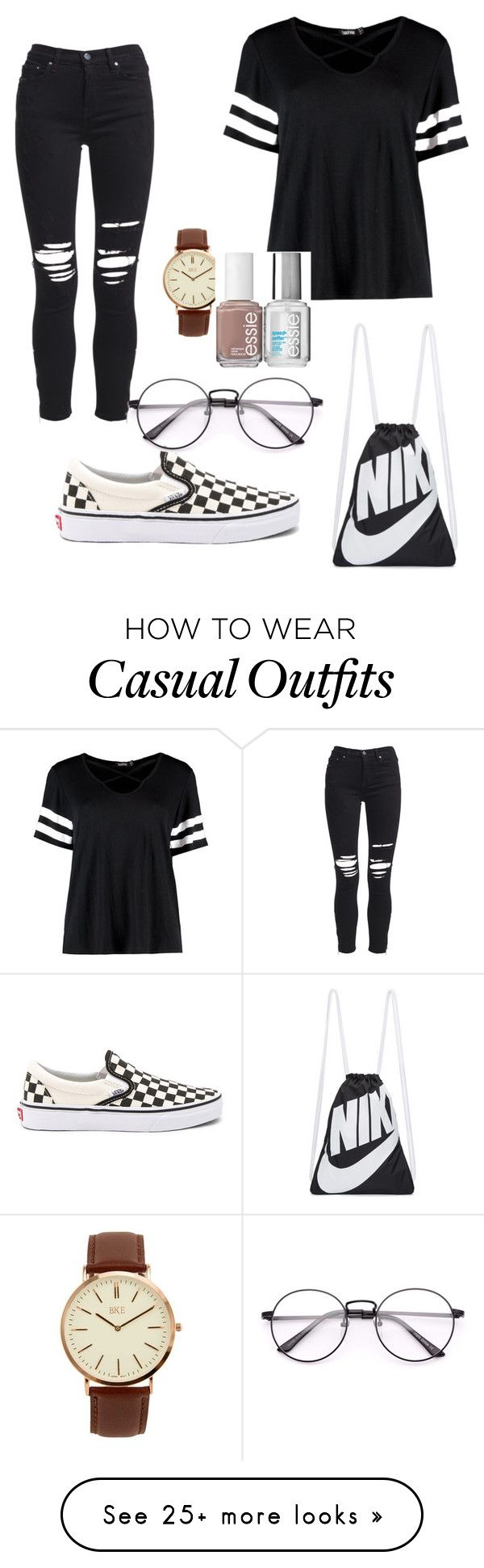 """casual 1"" by roweezasantos on Polyvore featuring AMIRI, Vans, Boohoo, NIKE, BKE and Essie"
