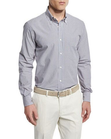 Loro Piana  Check Long-Sleeve Sport Shirt, Blue/Orange L Large Men
