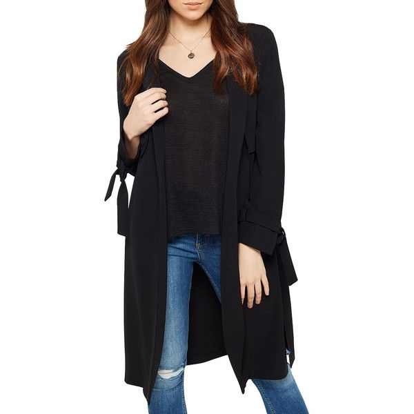 Miss Selfridge Women's Tie Sleeve Duster Coat (310 SAR) ❤ liked on Polyvore featuring outerwear, coats, black, miss selfridge coats, miss selfridge, open front coat, long sleeve coat and duster coat