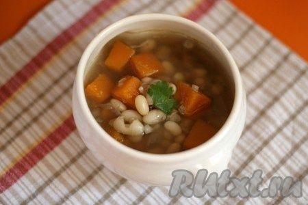 Суп из белой фасоли и тыквы
