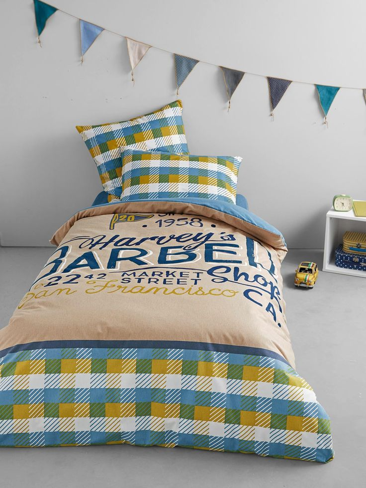 Silhouette Taie d'oreiller Old school + Housse de couette en Flanelle Old school + Drap-housse en Flanelle Old school -