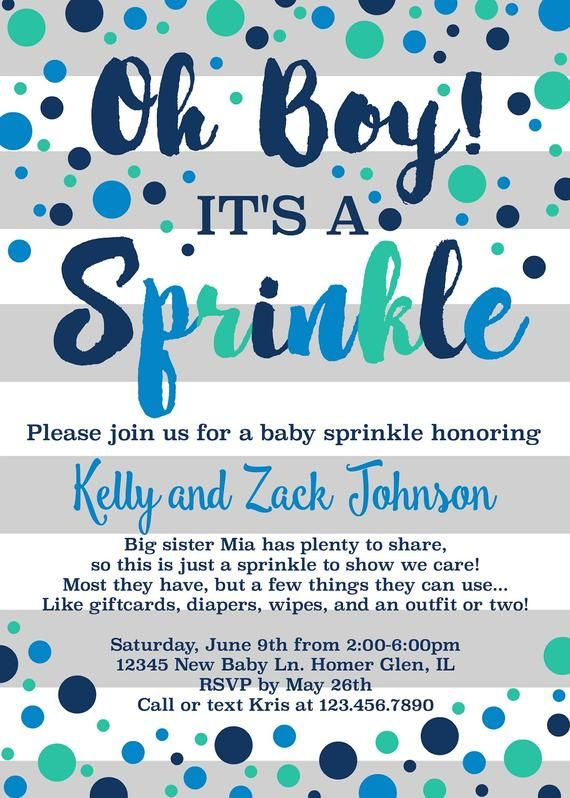 Oh Boy It S A Sprinkle Baby Invitation