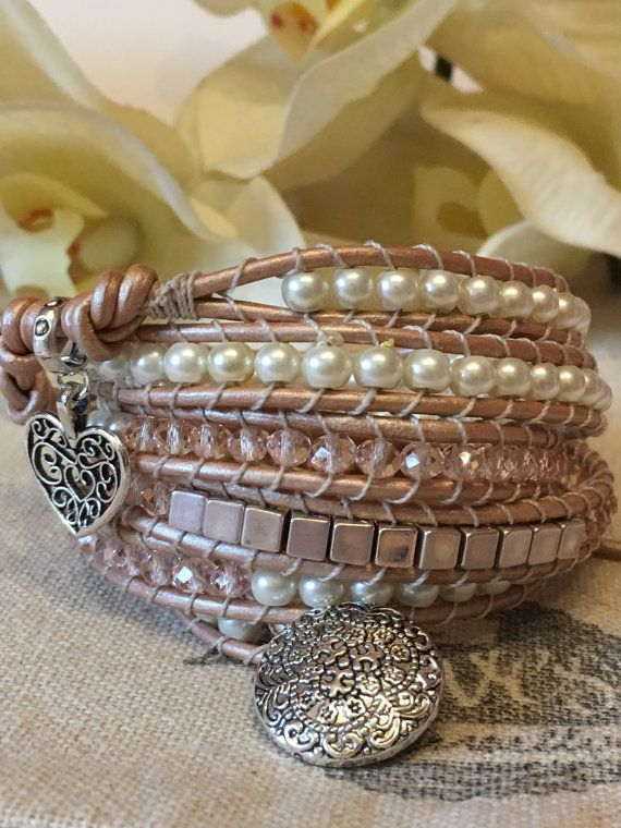 Leather Wrap Bracelet by jesslovesjewellery on Etsy