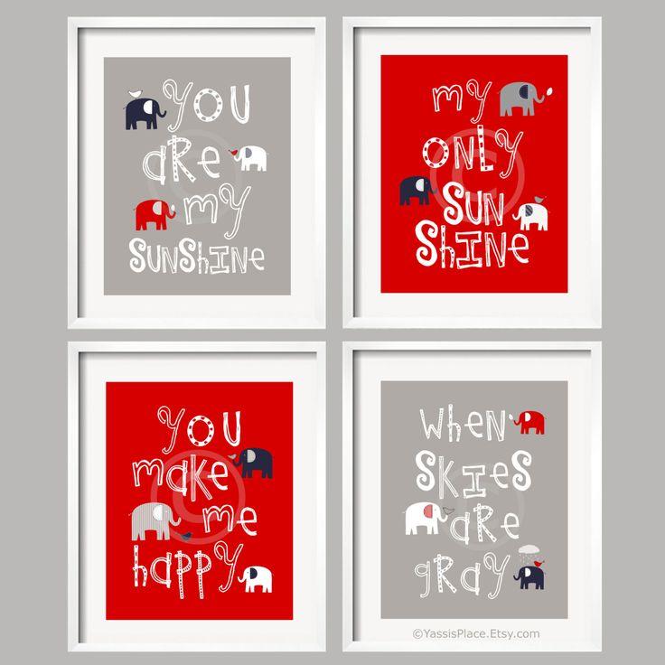 You Are My Sunshine Baby Boy Art Nursery Decor Elephant Wall Print Red Gray Navy Prints